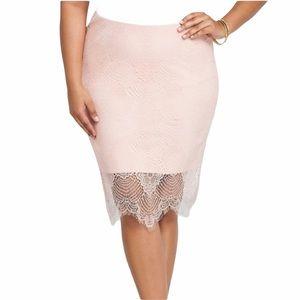 Torrid Blush Pink Lace Pencil Skirt